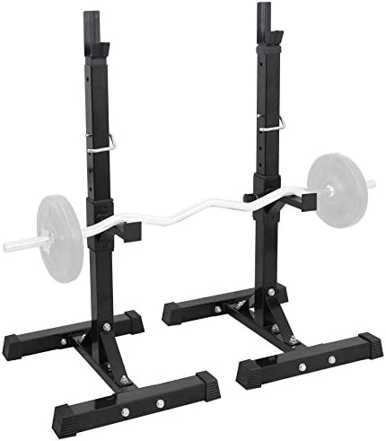 F2C Max Load 550Lbs Pair of Adjustable 40 -66 Rack Sturdy Steel Squat Barbell Free Bench Press Stands Gym Home Gym Portable Dumbbell Racks Stands one Pair Two pcs