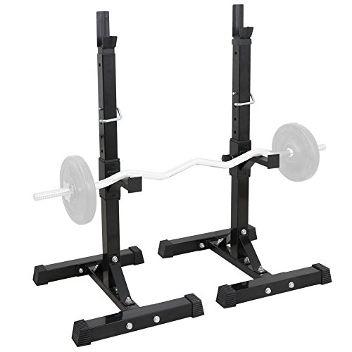 F2C Max Load 550Lbs Pair of Adjustable 41″-66″ Rack Sturdy Steel Squat Barbell Free Bench Press Stands Gym/Home Gym Portable Dumbbell Racks Stands (one Pair/Two pcs)