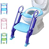 Potty Training Toilet Seat with Step Stool Ladder for Kid and Baby, Adjustable Toddler Toilet Training Seat with Soft Anti-Cold Padded Seat, Safe Handles and Non-Slip Wide Steps, Purple Blue for Boys: more info