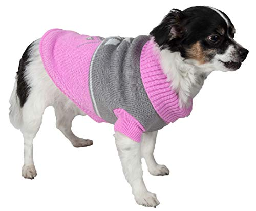 (PET LIFE 'Snow Flake' Cable Knit Ribbed Fashion Designer Turtle Neck Pet Dog Sweater, Small, Pink and Grey)