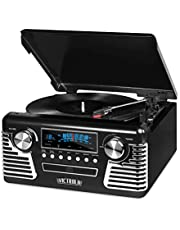 Innovative Technology 50's Retro 3 Speed Bluetooth Turntable with Stereo, CD Player & Speakers, Black