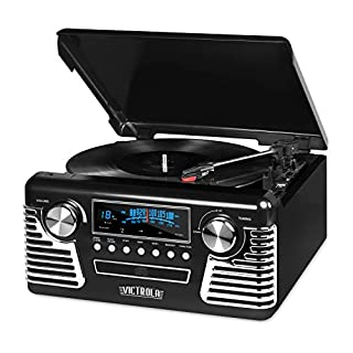 Victrola 50's Retro Bluetooth Record Player & Multimedia Center with Built-in Speakers - 3-Speed Turntable, CD Player, AM/FM Radio | Vinyl to MP3 Recording | Wireless Music Streaming | Black