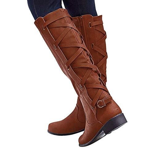 Women Ladies Fashion Shoes Buckle Roman Riding Knee High Cowboy Boots Martin Long Boots 35-43 Shoes Brown