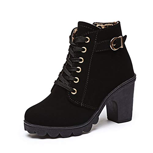 - Fay Waters Women's Buckle Strap Lace Up Snow Boots Block Super High Heel Platform Ankle Booties