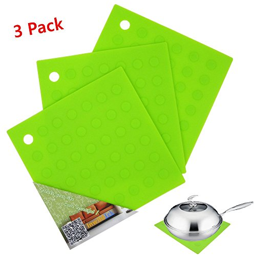 Pot Holder (3 Pack), Multipurpose Silicone Heat Resistant Trivets for Jar Opener, Hot Mat, Placemats, Hot Pad, Coaster, Cup Spoon Rest Mat by InwildTek