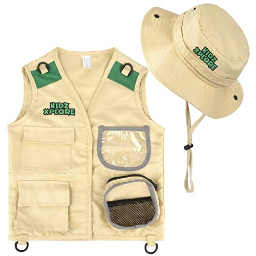 Kidz Xplore Outdoor Adventure Kit for Young Kids - Cargo Vest and Hat Set Backyard Explorer Safari Costume and Dress Up for Park Ranger, Paleontologist, Zoo Keeper Kid and Scavenger Hunt