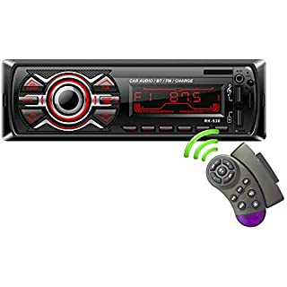 Sale LSLYA 7 Color Backlight Universal Car Radio Stereo Receiver Single Din Bluetooth MMC/USB/SD/AUX/FM Player Hands-Free Calls 4 Channels Output Steering Wheel Remote Control Phone Charge