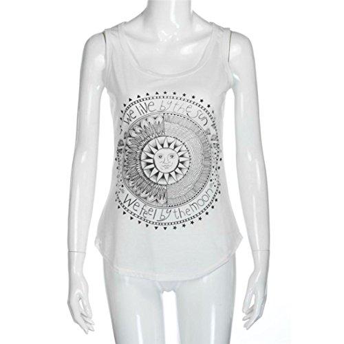 Ouneed Mujeres Sun impresa chaleco sin mangas Blusa camiseta casual Tank Tops Blanco