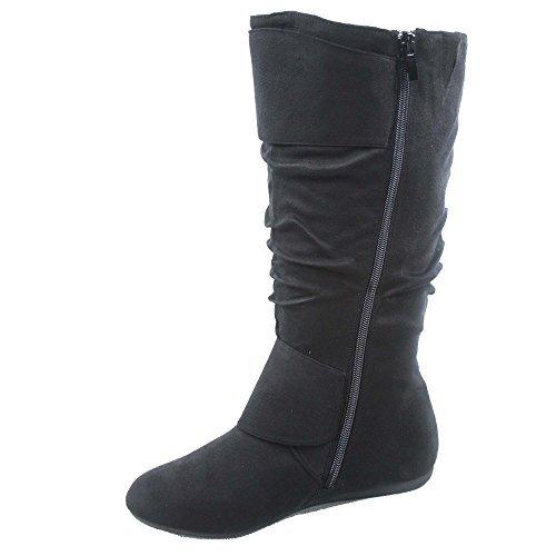 - Top Moda Bank-81 Women's Fashion Round Toe Flat Heel Zipper Buckle Slouchy Mid-Calf Boot Shoes (10, Black)