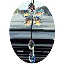 Crystal Flower Car Rear View Mirror Pendant Colorful Car Hanging Ornament Car Accessories Decoration