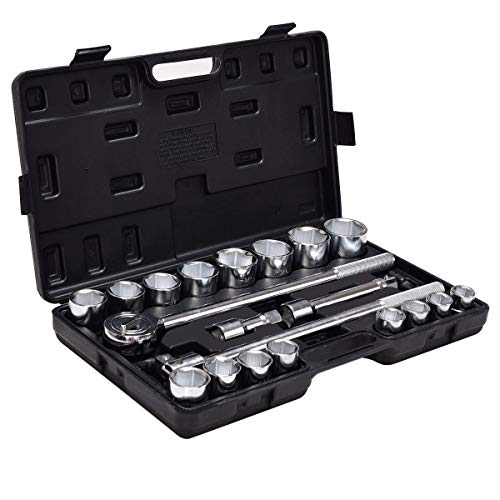 Cypress Shop Drive Socket Set Ratchet Socket Tool Set METRIC SAE 3/4″ Drive Repair Workshop Equipments Tools Auto Truck Vehicles Automotive Tools With Case Set of 21 Pieces
