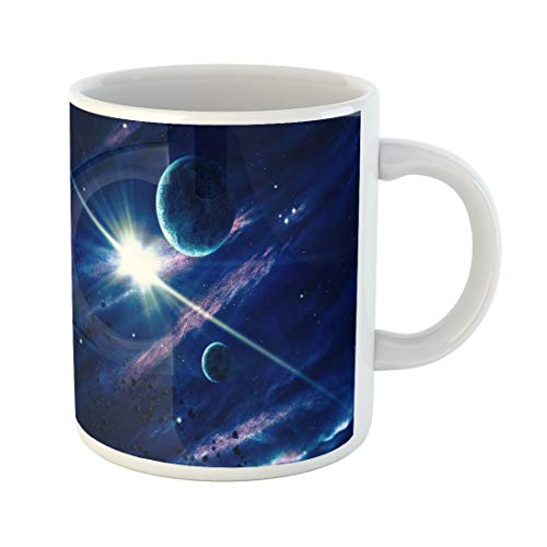 Emvency Funny Coffee Mug Planets the Shining Star in Space of This Furnished By Nasa 11 Oz Ceramic Coffee Mug Tea Cup Best Gift Or Souvenir ()