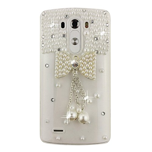 LG K7 Case, LG Tribute 5 Case, Sense-TE Luxurious Crystal 3D Handmade Sparkle Diamond Rhinestone Clear Cover with Retro Bowknot Anti Dust Plug - Bowknot Pearl Pendant (Jeweled Lg Tribute Case)