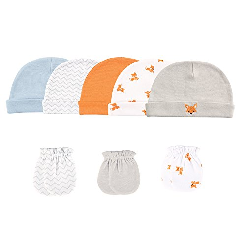 luvable-friends-baby-5-cap-and-3-pack-scratch-mitten-set-fox-0-6-months