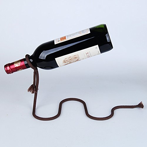 Suspended Iron Rope Grape Red Wine Bottle Rack Euro Art Decor Stemless Leaning Corner Shelf Simple Stand Unusual Organizer Unique Holder Stylish Storage Metal Personalized Interesting Display (Brown)