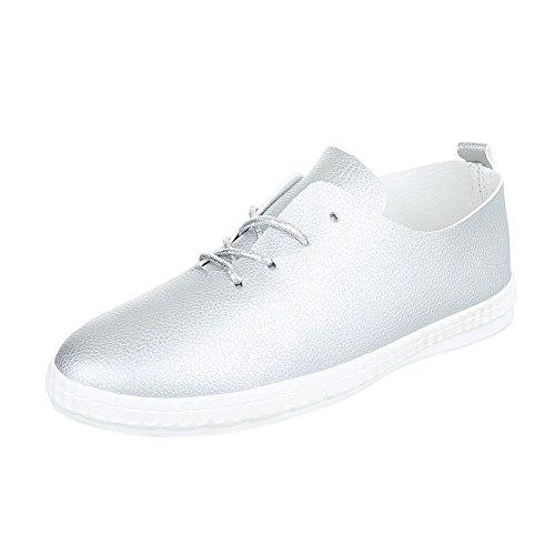 Ital-Design Sneakers Low Damenschuhe Schnürsenkel Freizeitschuhe Silber