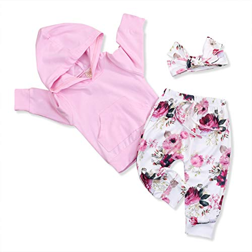 Infant Baby Girl Outfit Floral Hoodie with Pocket Flower Long Pants Set + Headband 3Pcs Tracksuit (0-6 Months, Pink Flower)