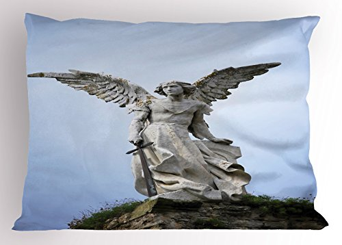 Lunarable Sculptures Pillow Sham, Sculpture of Guardian Angel with Sword in Cemetery of Comillas Spain, Decorative Standard Size Printed Pillowcase, 26 X 20 Inches, Light Blue Coconut by Lunarable