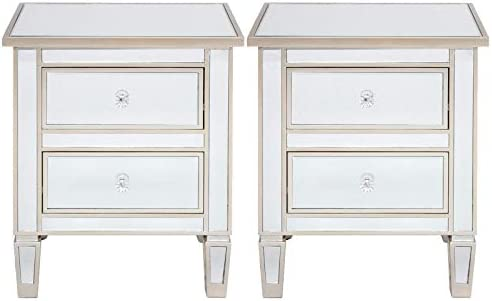 TITA-DONG Mirrored Nightstand Set of 2,2 Drawer Mirrored Bedside End Table Accent Chest,Modern Silver Rose Gold Mirror Finish Accent End Table Cabinet