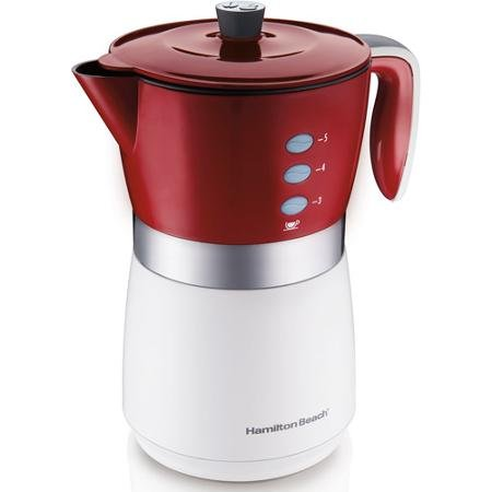 Hamilton Beach 5-Cup Personal Brewer Coffee Maker, 43700, Silver/Red/White