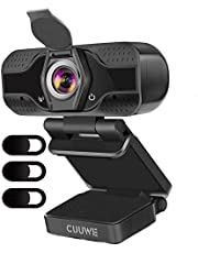 CUUWE Webcam With Microphone, 1080P HD Camera USB Computer Webcam Plug And Play For Online Teaching/Video Conferencing/Recording And Streaming (Black)
