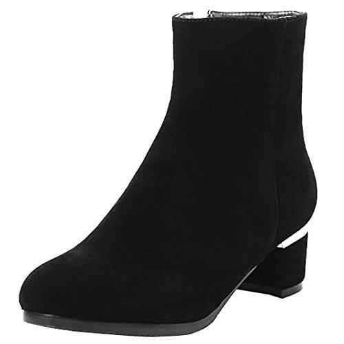 AIYOUMEI Damen Herbst Winter Blockabsatz Kurz Stiefel mit 5cm Absatz Chunky Heel Stiefeletten Schwarz