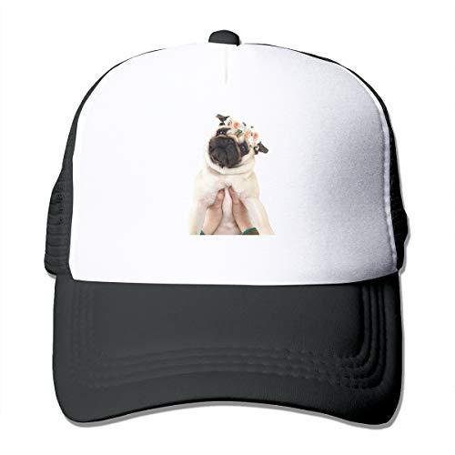 Pug Life Trucker Hat Snap Back Sun Mesh Baseball Cap Hip Hop Flat Hats for Men and Women Black