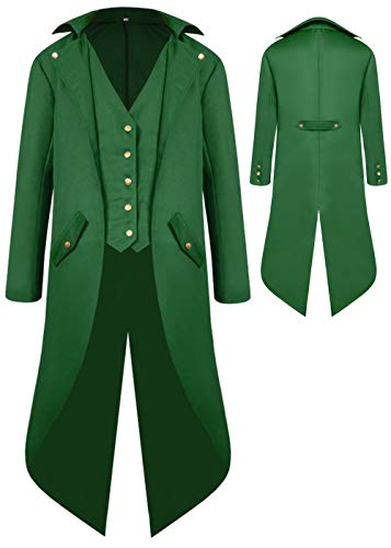 Boys Medieval Tailcoat Jacket Halloween Costumes, Gothic Steampunk Vintage Victorian Frock High Collar Uniform Coat (Green, Large(US10-12))