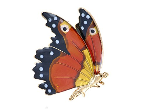 Alilang Golden Tone Multicolored Spotted Colorful Monarch Butterfly Wings Brooch Pin -