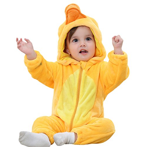 Birdfly Unisex Baby Cute Flannel Romper Zip Up Hoodie Jumpsuit Toddler Animal Costume Winter Cozy Outfits (4T, Duck)
