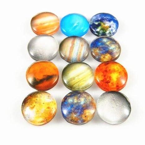 FidgetFidget Jewelry Making Cabochons Multi-Option Colorful Glass Cameo Cosmic Planet Pattern 12mm;30pcs//Pack