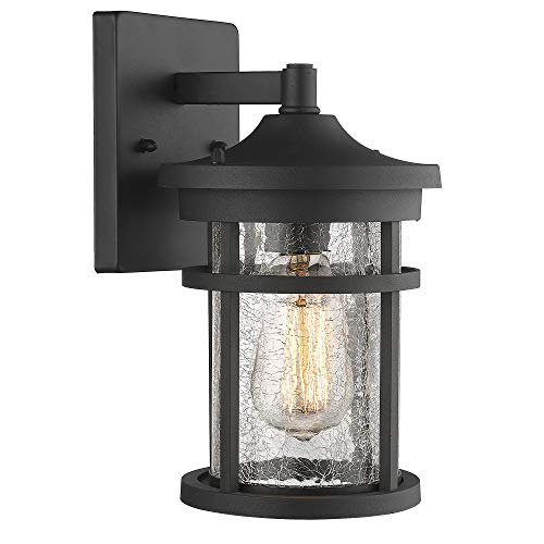 Emliviar Outdoor Light Wall Mount, Crackle Glass in Black Finish, 2085B2 BK