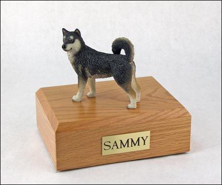 GENUINE North American Hardwood and Alaskan Malamute Figurine Urn Xlarge