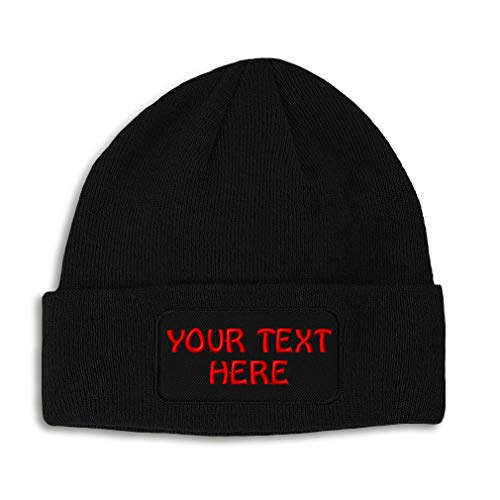 Winter Patch Beanie for Men & Women Custom Personalized Text Name Embroidery Acrylic Skull Cap Hats Black 1 Size