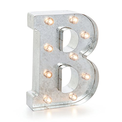 Silver Metal Marquee Letter- B -Vintage-Style Lighted Marquee Letter with On/Off Switch, Ideal for Weddings, Special Events, and Room Décor, Galvanized Metal Finish, 9.87