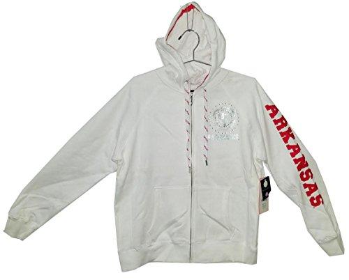E5 College Classics Arkansas Razorbacks Full Zip White Hoodie w/Bling Design (S)