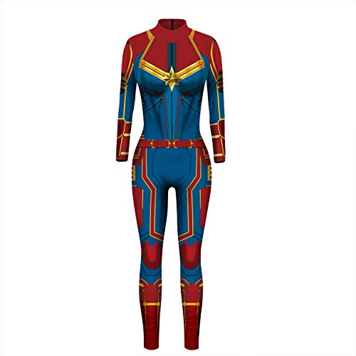 Yute Cosplay Women Captain Hero Bodysuit Halloween Costume Spandex Tight Suit (Captian Blue, X-Large) -