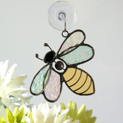 J Devlin Orn 175 Stained Glass Bumble Bee Ornament Window Sun Catcher (Stained Christmas Glass Suncatcher)