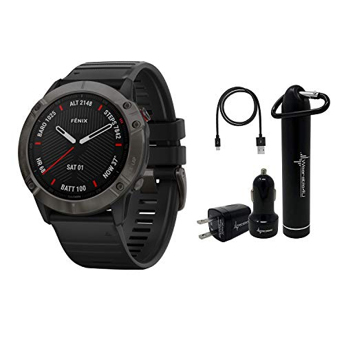 Garmin Fenix 6X Premium Multisport GPS Watches with Pulse OX, Routable Maps and Music with Included Wearable4U Power Pack Bundle (Sapphire, Carbon Gray DLC with Black Band)