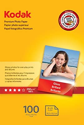 "Kodak Premium Photo Paper for inkjet printers, Gloss Finish, 8.5 mil thickness, 100 sheets, 4"" x 6"" (1034388)"