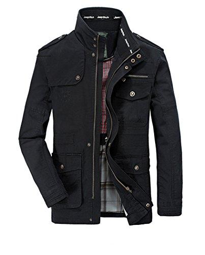Chaqueta Militar otoño invierno Primavera Black Hombres e chaqueta Algodón vY7q70Tw