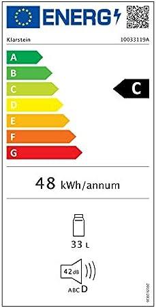 Klarstein Beersafe - Nevera con puerta acristalada, Mininevera, Minibar, Iluminación LED, Acero inoxidable, 5 niveles de frío, 42 dB, 2 rejillas metálicas extraíbles, C, 35 litros, Negro[Clase de eficiencia energética C]