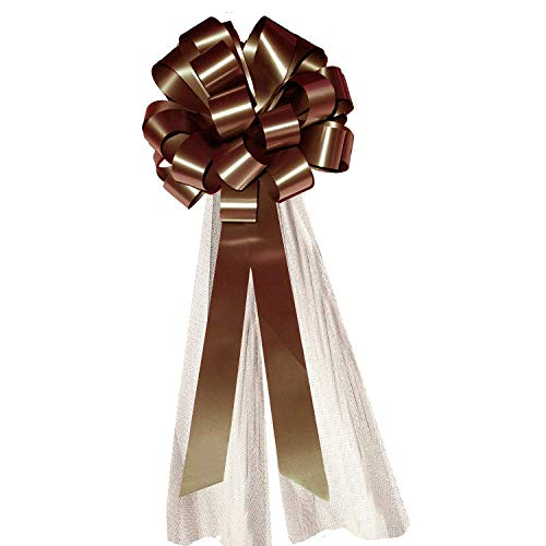 Umber Pull - Brown Wedding Pull Bows with Tulle Tails - 8
