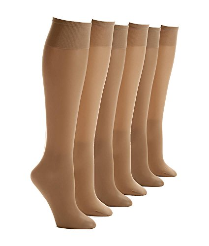 Berkshire Ultra Sheer Knee Highs 6-Pack, One Size, City Beige