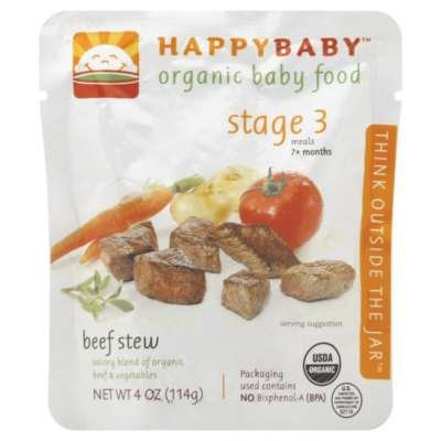 Happybaby Organic Baby Food Stage 3 Meals Ages 7+ Months Beef Stew - 4 Oz, 8 Pack by HAPPYBABY