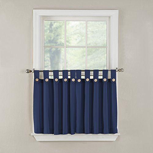 GPD Newport 60-inch x 24 inch Button Tab Top Tier Curtain Pair, Navy