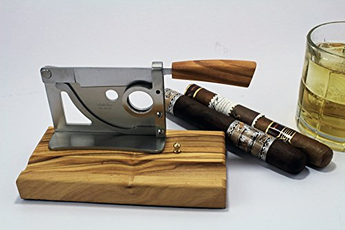 Elegant handmade Italian table-top cigar cutter with olive wood base and handle by Saladini Knives (Image #3)