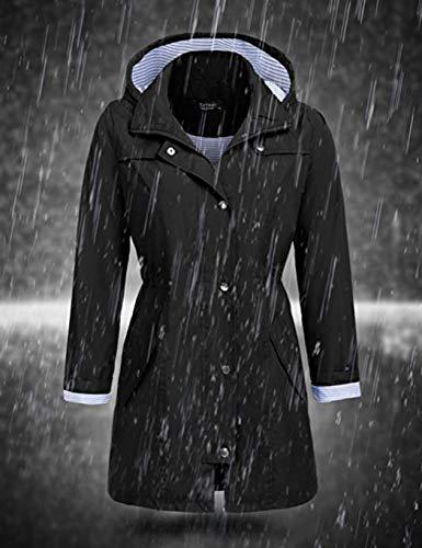 A Moda Cappotto In Nuova Elastico Vita Cappotti Con Outwear Cappuccio Oplon Maniche Nero Casual Lunghe Di Donna 4XwvTvdqW