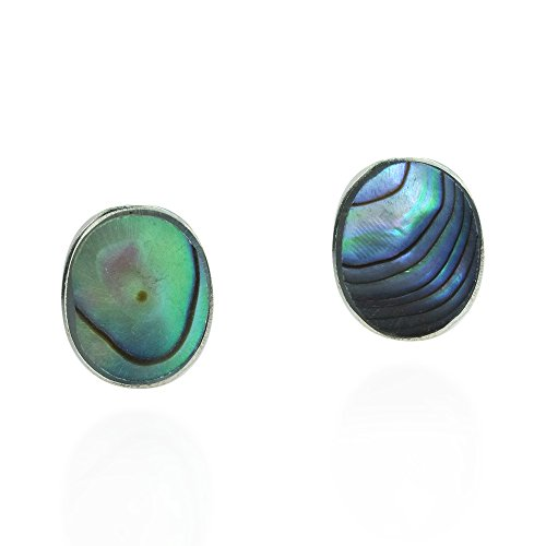 - Cute Inlay Abalone Shell Oval .925 Sterling Silver Push Back Stud Earrings