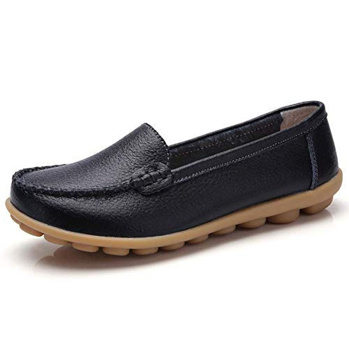 7100f0b3fb28 Harence Women s Soft Comfort Leather Loafers Slip On Driving Walking Flats  Shoes